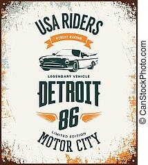 Vintage cabriolet vehicle t-shirt vector logo on light background.