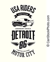 Vintage cabriolet vehicle t-shirt vector logo on white background.