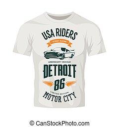 Vintage cabriolet vehicle vector logo on white t-shirt mock up.