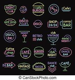 neon signs vector set