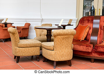 Vintage cafe with easy armchairs and sofas - Vintage cafe...
