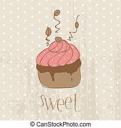 Vintage Cake Postcard  - for design, invitation, congratulation, scrapbook