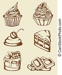 Vintage cakes and chocolate - Set of vintage hand drawn...