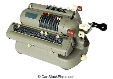 vintage calculator - vintage mechanical calculator; on white...
