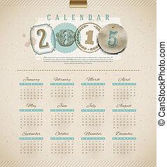 Vintage calendar 2015 - vector illustration