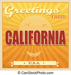 Vintage Touristic Greeting Card - California, United States of America, vector illustration