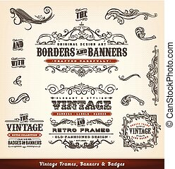 Vintage Calligraphic Frames, Banners And Badges