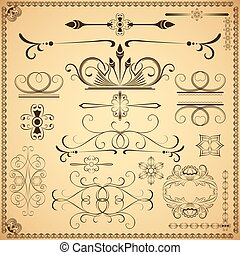Vintage calligraphic vector design elements isolated on old paper background.