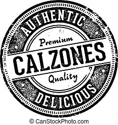 Vintage style calzones rubber stamp for menu design