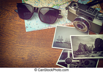 Vintage Camera and Map - Vintage camera, map, sunglasses and...