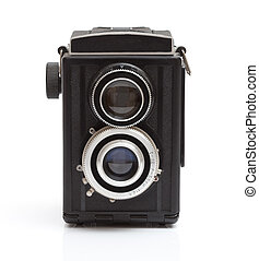 Vintage camera from the 1970's isolated on white