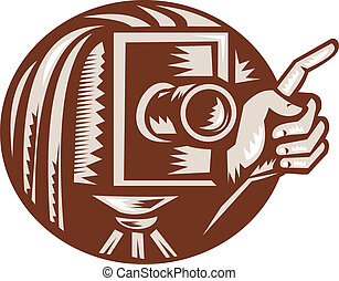 Vintage Camera Hand Pointing Retro Woodcut - Illustration of...