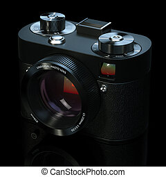 Vintage camera in black studio (this camera does not exist)
