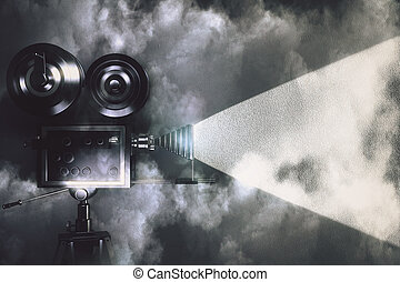 Vintage camera making a film in the dark room with clouds