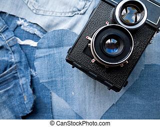 Vintage Camera on Denim