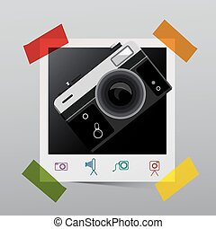 Vintage Camera on Paper Photo Frame. Retro Photography Icons. Vector.