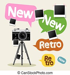 Vintage Camera on Tripod with Retro and New Text on Colorful Bubbles and Empty Photo Frames