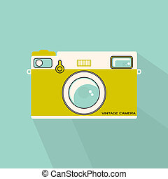 Vintage camera - Retro flat style camera illustration in ...
