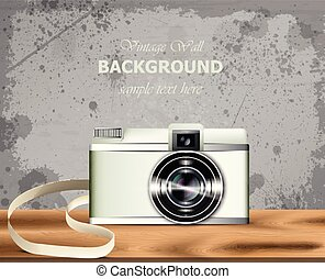Vintage camera Vector realistic. Detailed 3d illustrations