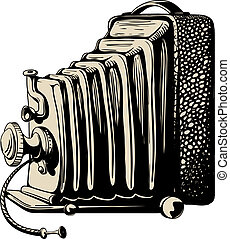 Vintage camera with bellows black and sepia isolated on white