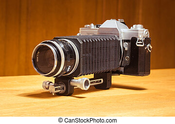 Vintage camera with bellow extension