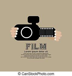 Vintage Camera With Film Strip.