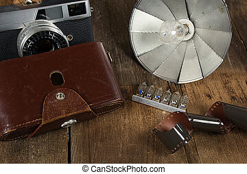 vintage camera with flash bulbs