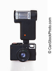 Vintage Camera with Flash on white