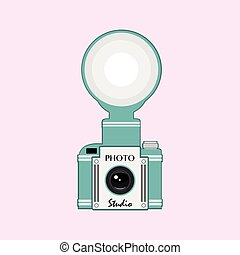 Vintage  camera with flash vector i