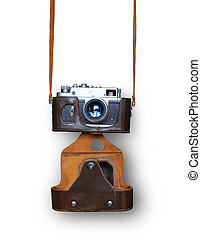 Vintage camera with leather case