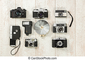 Vintage Cameras With Flash On Floorboard - Directly above...