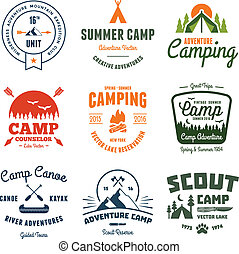 Vintage camp graphics - Set of retro vintage camp labels and...