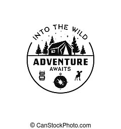 Vintage camp logo, mountain badge. Hand drawn travel expedition, wanderlust label design. Into the wild Adventure awaits. Outdoor hiking emblems. Logotypes collection. Stock isolated
