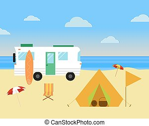 Vintage camping concept. Retro caravan, motorhome, rv on the...