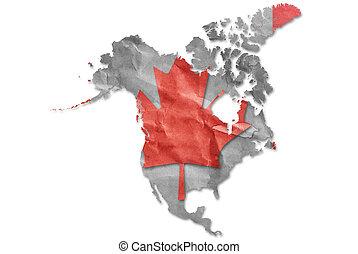 Vintage Canada flag paper grunge.