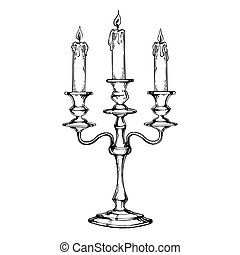Vintage candelabrum with candles engraving vector