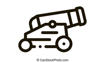 Vintage Cannon Icon Animation. black Vintage Cannon animated icon on white background