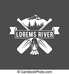 vintage canoeing logo - vintage mountain, rafting, kayaking,...