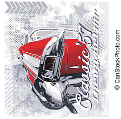 vintage car '57 - vintage classic car vector for T-shirt...