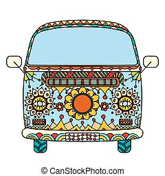 Vintage car a mini van in Tangle Patterns style. Hand drawn image. The popular bus model in the environment of the followers of the hippie movement.