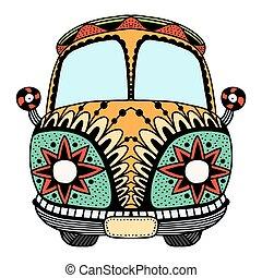 Vintage car a mini van