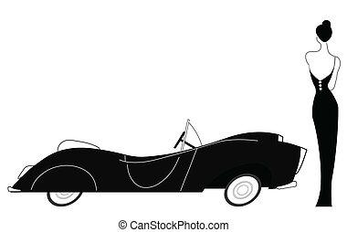 Vintage car and stylish lady isolated on white background