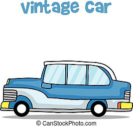 Vintage car cartoon education for kids