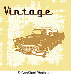vintage car grunge - Vector illustration of vintage car on...