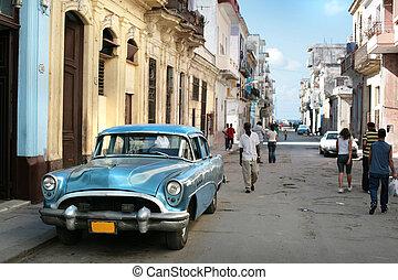 vintage car - HAVANA - 25 MARCH: Vintage car in Cuba, Havana...