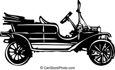 Vintage Car - Woodcut style expressionist image a vintage...