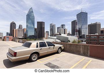 Vintage Car in Dallas Downtown