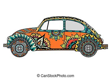 Vintage car in Tangle Patterns style. Hand drawn image. The popular car model in the environment of the followers of the hippie movement. Vector illustration.