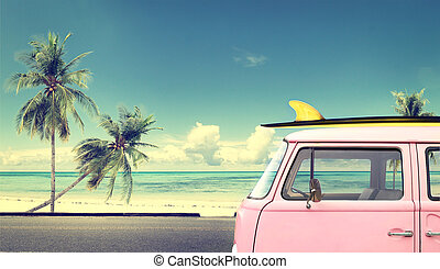 car in the beach with a surfboard on the roof - Vintage car...