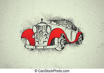 Vintage Car on Grungy Background - illustration of vintage...
